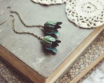 patina tulip drop earrings.