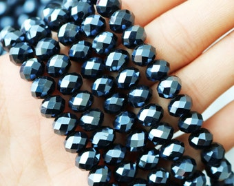 mystic black beads, faceted rondelle, crystal beads, 6x8mm, sold as 1 strand, approx. 72 beads
