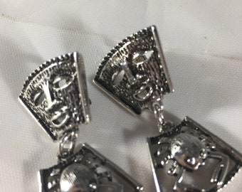 Vintage Sarah Coventry Talisman of Love Silver-Tone Clip On Dangle Earrings; Crab-Aztec Earrings, Fashion Costume Jewelry