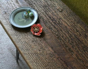 reclaimed wood bench with hairpin legs - Island Barn Whale Bench - modern industrial, urban elemental