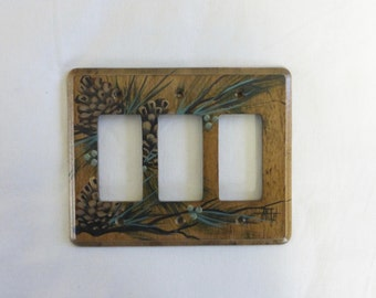 Triple GFI Switch Plate Pine Cone design  GFI Outlet Wall Plate Wood Switch Plate