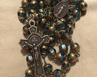 Blue and Gold tone Rosary