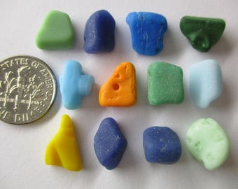 GENUINE SEA GLASS 12 Milkglass Orange Blue Green Yellow Real Surf Tumbled Unaltered Undrilled Natural Beach Found Seaglass Beads U 664a