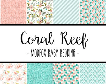 Coral Reef Baby Bedding - Floral Baby Bedding - Floral Crib Sheet - Floral Blanket - Floral Changing Pad - Mermaid Bedding - Coral Bedding