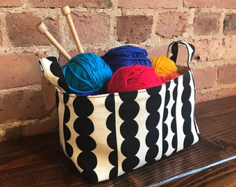 Black & white Babbles Basket Organizer, Marimekko style,Storage Basket, Fabric bin, Japanese cotton, House warming gift, Teacher gift