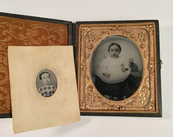 """Adorable Ambrotype of Alice Homiller and Her """"Pet"""" Cat, Pair of 19th Century Antique Photos"""