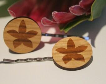 Decorative Bobby Pins-Australian Bobby Pins-Hair Accessory-Hair Pin-Australian Wildflowers-Orchid-Wood Lasercut