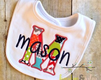 Applique Initial Bib - Personalized, Choose Your Fabrics
