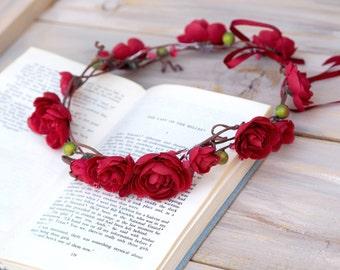 Festival Flower Crown, Red Rose Crown, Boho Floral Headpiece, Red Headband Wreath, Wedding Red Tiara, Valentine Crown