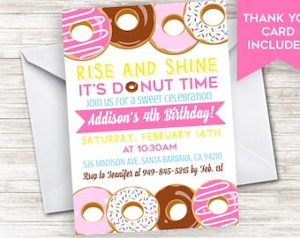 Donut Invitation Birthday Invite Doughnuts Girls Pink Kids Breakfast Sprinkle 5x7 Digital Personalized