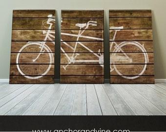CANVAS // Tandem Bike on Brown Wood  //  Oversized Canvas Art, Large Canvas, Wall Decor, Home Decor, Gift Ideas, Bike Art, Marriage, Wedding