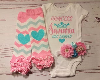 Baby Girl Coming Home Outfit, Baby Girl Clothes, Personalized, Newborn, Baby, Outfit, Name, Take Home Outfit, Newborn, Princess, Take Home
