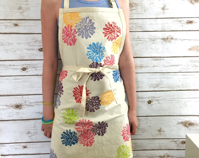 "Custom apron for Sandi - multi colour flowers on organic canvas, short apron with bib, 25"" long, eco-friendly"