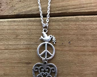 Dove, Heart and Peace Sign Necklace