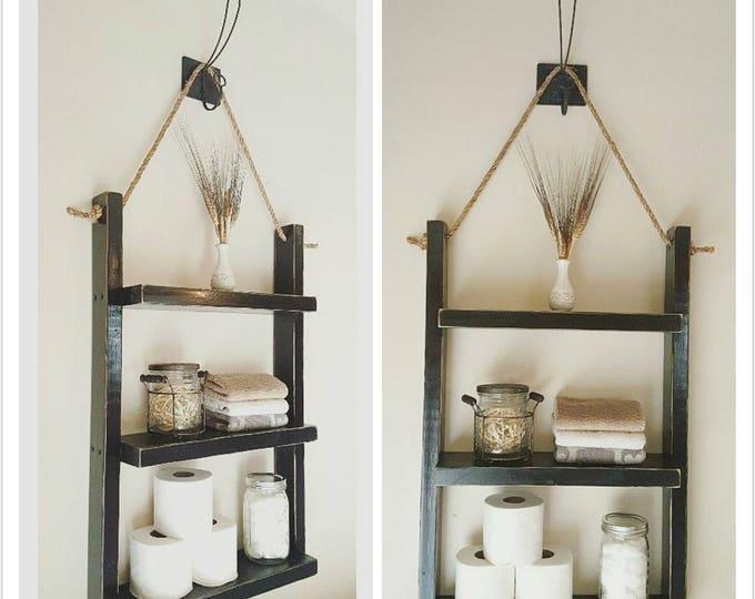 Large Rustic Ladder Shelf- Rope Shelf - Rustic Wood and Rope Ladder Shelf, Bathroom Organizer, Entryway Shelf - Bathroom Shelf - Bath Decor