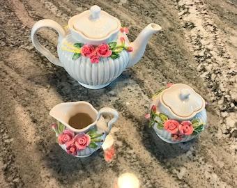 Tea Serving Set Sculpted Pink Rose Design Porcelain Creamer, Sugar Bowl and Teapot, Grace's Teaware, Item #574301234