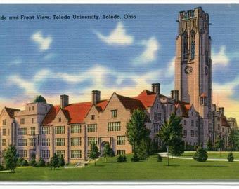 Toledo University Campus View Ohio linen postcard