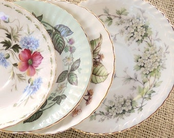 Mismatched Saucers Set of 4 Tea Party Plates Wedding Cottage Chic, Vintage, Bridesmaid Inspired, Replacement China