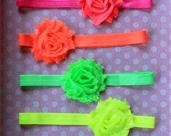 Baby Girl Neon Color Headband Set - Summer Headbands in Neon Green, Pink, Yellow & Orange