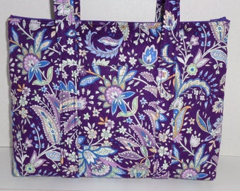 Purple Light Blue White Paisley Floral Print Quilted Purse Quilted Handbag