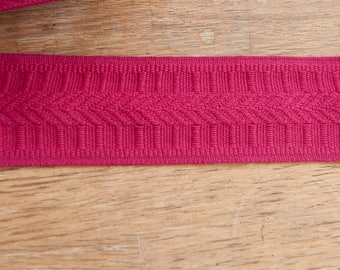 3 yards of Pink Vintage Trim - 80s New Old Stock Woven Fuchsia Geometric