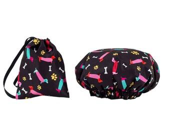 NEW Dogs Waterproof Shower Cap Bag Bathroom Set Toiletries Travel Bundle