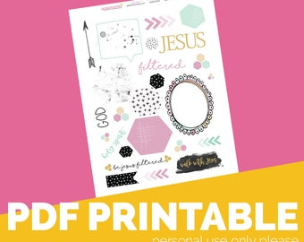 Filtered Printable Bible Journaling, Margin Stickers, Bookmarks, Sticker Printable