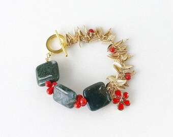 Green Moss Agate and Red Coral Stone Statement Bracelet with Gold Leaf Chain