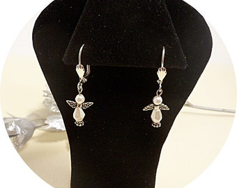 Angel Earrings, White Angels, Dainty,