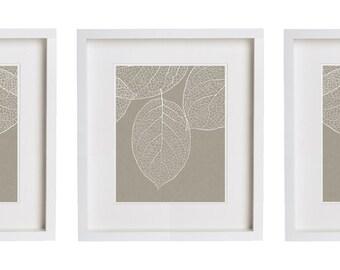 West Elm Leaf 3 Botanical Prints Gray Taupe Set of Three Prints