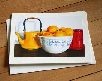 Still Life Greeting Card, Blank Greeting Card, Note Card, Art Card, Any Occasion, Painting, Realism, When Life Gives You Lemons, Blank