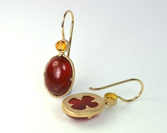 Earrings 750 Gold Carnelian citrine Unique jewelry design hand made in Germany