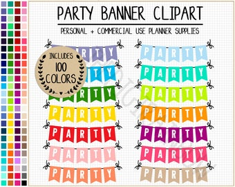 SALE 100 PARTY banner clipart colorful party stickers party clipart rainbow planner stickers party graphics bunting stickers party printable