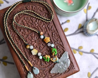 Jade Butterfly plum flower bead double heart knot necklace. Traditional Chinese knotting art. Green yellow knotted. READY TO SHIP/style082