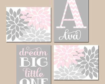 PINK GRAY Nursery Art, Baby Girl Nursery Art, Flower Nursery Wall Art, CANVAS or Prints, Girl Monogram Dream Big Little One Set of 4 Gift