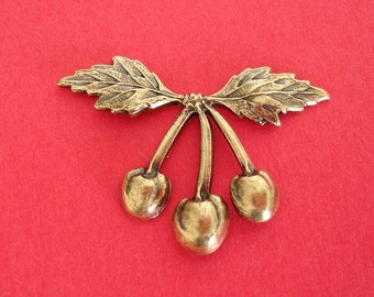 2-Art Deco Berry Branch  Ox  Brass Stamping Ornament Embellishment Jewelry Findings.