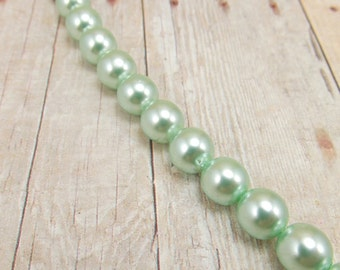"8mm Czech Glass Pearls - Aqua Green - 7.5"" Strand - 24 Pearls - Mint Green - Light Green - Pistachio"