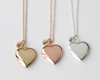locket necklace, gold heart Locket initial Necklace, gift for lover, gift for mom, Valentine's Day gift, Mother's Day gift, family necklace
