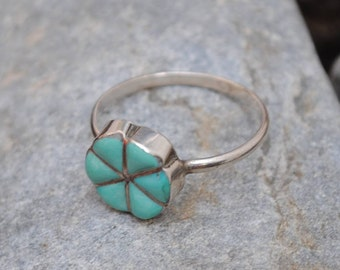 Natural turquoise ring silver flower shaped, flower shaped rings, flower ring, turquoise flower ring, turquoise ring, native american ring