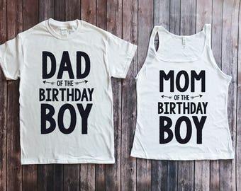 Mom and dad of birthday boy- standard version, matching parents shirts, matching family shirts, birthday boy shirt, parents of birthday boy