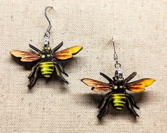 Bee Earrings / Bug Earrings / Handmade Wood Earrings / Handmade Jewelry / Insect Earrings / Laser Cut Earrings / Stainless Steel