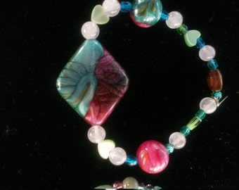 mixed stretch gemstone bracelet