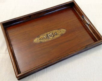 Antique Wooden Serving Tray with Decal Decoration