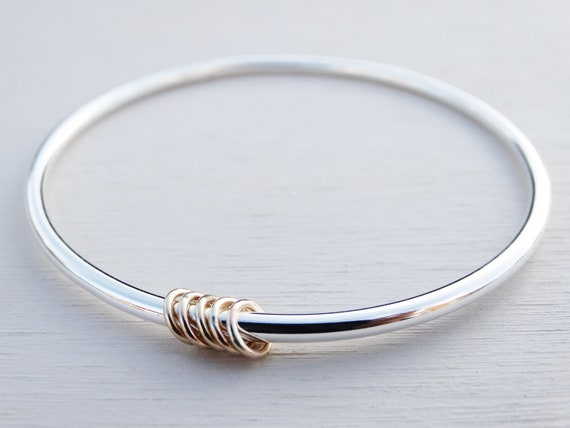 Solid Silver Bangle & Gold Rings, Sterling Silver, 9ct Gold