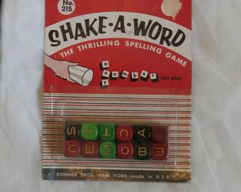 Shake a Word Game, Mid Century Era Wooden Letter Dice in Package, Kohner Bros Spelling Game