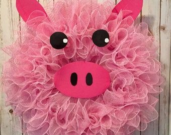 Summer wreath, Spring wreaths, pig wreath, farm animals, animal wreath, farm decor, pig decor, little pig, pink wreath, farm wreath, pig
