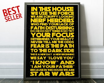 In this house Star Wars Poster Inspiration Poster Star Wars Quotes Yoda Luke Skywalker Star Wars Fan Gift for him Birthday