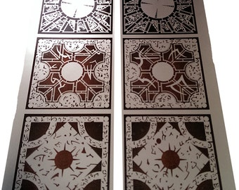 """Hellraiser Lament Configuration Sticker 3"""" X 3"""" FULL SET Metallic Silver"""