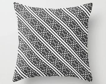 White Black Cushion, Damask Throw Pillow, Stripes Decorative Pillow Case, 16x16 18x18 20x20, Sofa Accent Cushion Cover, Modern Toss Pillow