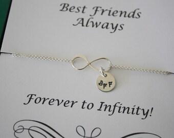 Six Bridesmaid Infinity Bracelets, Best Friend,Infinity Jewelry, Gift, Friendship Card, Bridesmaid, Tiny Sterling Silver BFF Charm